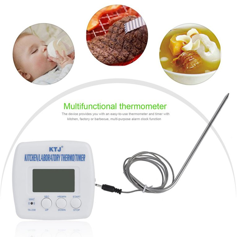 Digital LCD Display Food Thermometer Timer Cooking Kitchen BBQ Probe Meat