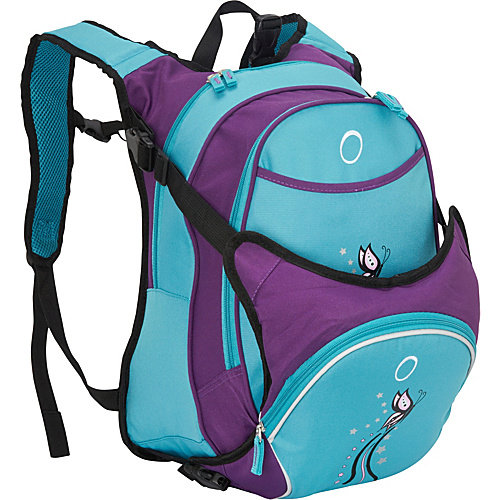 Obersee Munich School Backpack With Detachable Lunch Cooler - Turquoise Butterfly
