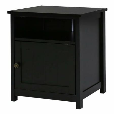 Kinbor Single Door Floor Big Storage Space bedroom Night Stand Table Cabinet Black