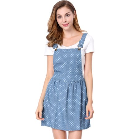 Women's Dots Pattern Suspender Mini Overall Dress Skirt