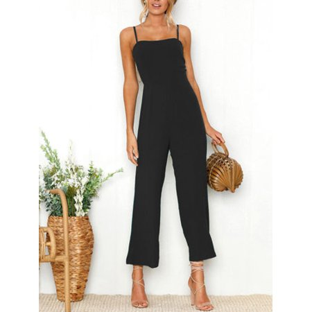 Womens Sleeveless Wide Leg Strappy Holiday Playsuit Dress Long Beach Jumpsuit