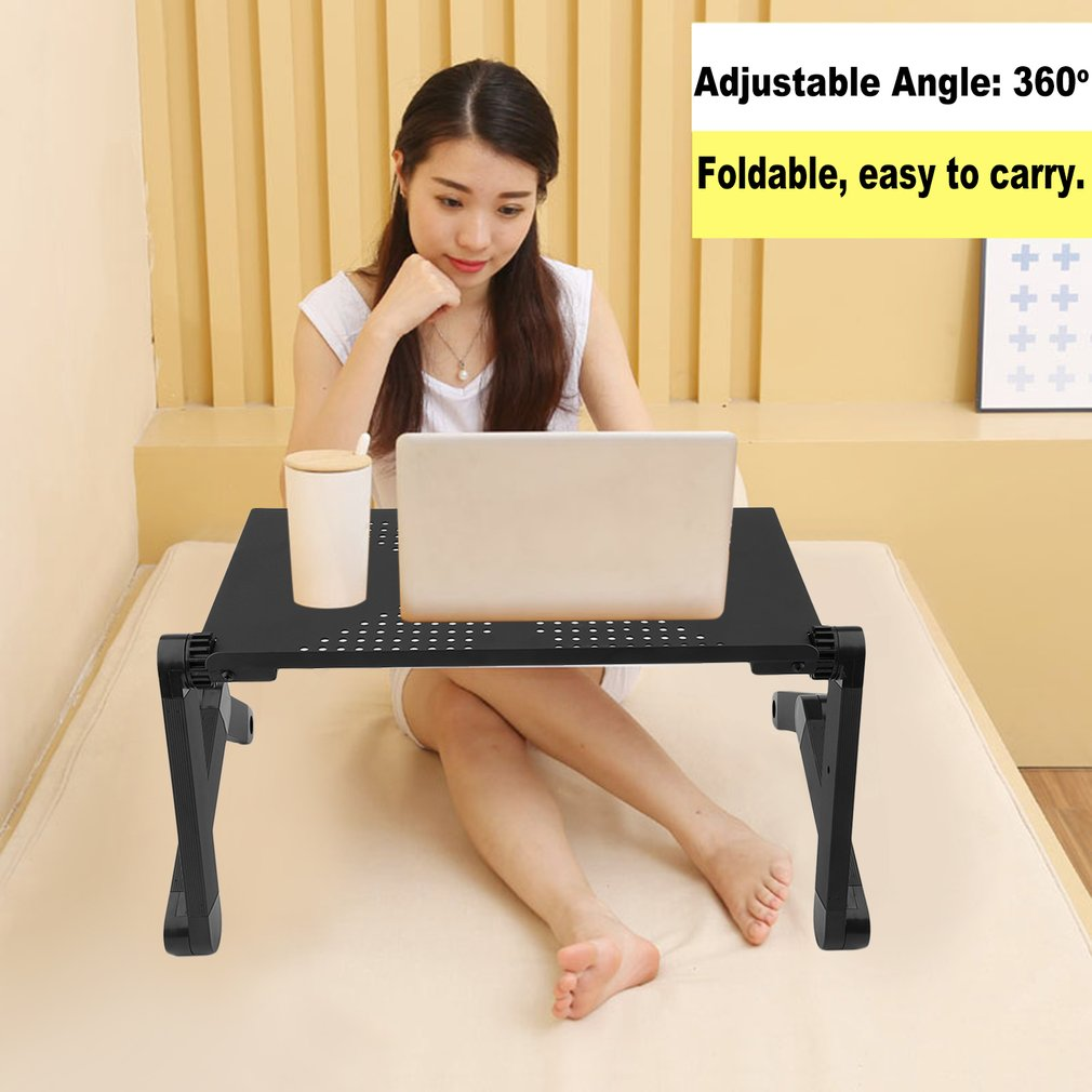 Computer Desk Adjustable Vented Laptop Table Portable Foldable Bed Tray Stand Vented Laptop Notebook Computer Desk Rotate Table Height Adjustable With Mouse Board Black