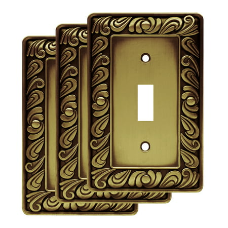 Franklin Brass Paisley Single Switch Wall Plate in Tumbled Antique Brass, 3-Pack