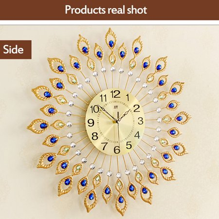 "27.6"" Large Peacock Clock Living Room Wall Clock Fashion Creative Home Wall Clock Mute Clock Quartz Clock European Peacock Clock - image 5 de 9"