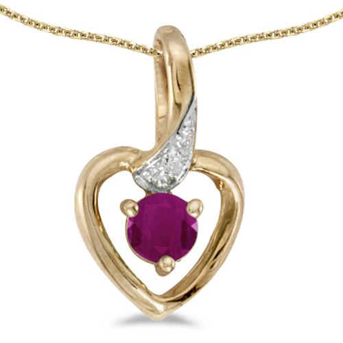 "10k Yellow Gold Round Ruby And Diamond Heart Pendant with 16"" Chain"