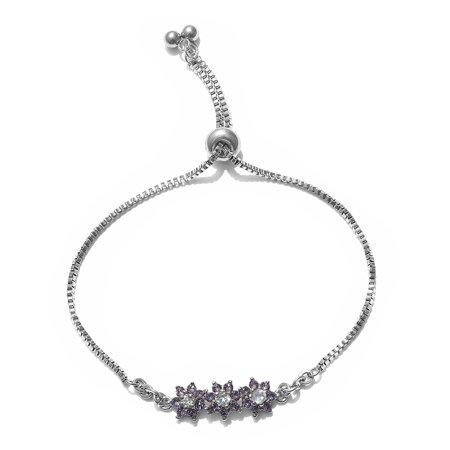 Hypoallergenic Round Sky Blue Topaz Made with SWAROVSKI Crystal Tanzanite Tennis Bracelet for Women Cttw 0.8 Jewelry