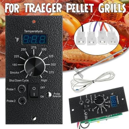 120V Digital Thermostat Controller Board For TRAEGER Pellet Grills Black + Meat Probe Temperature Probes Kit