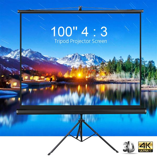 Portable Indoor Outdoor Projector Screen, 100 Inch Diagonal Projection HD 4:3 Projection Pull Up Foldable Stand Tripod,for Home Theater Cinema Party Office Presentation