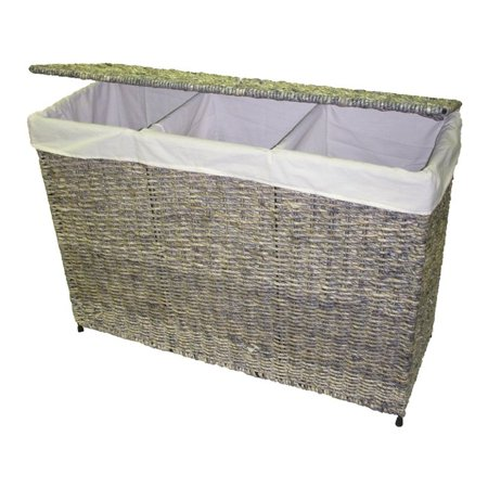- America Basket  Company Woven Maize 3-Section Lined Hamper