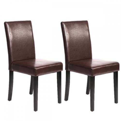 Set of 2 Brown Leather Contemporary Elegant Design Dining Chairs Home Room