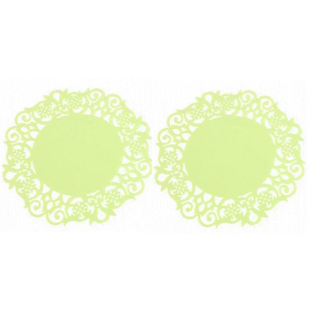 2PC Lace Flower Doilies Silicone Coaster Tea Cup Mats Pad Insulation -