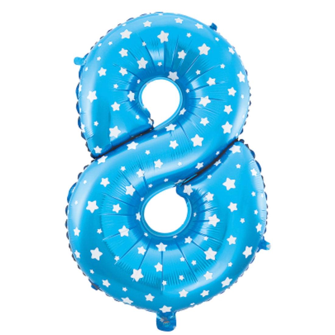 "Unique Bargains 16"" Blue Foil Number 8 Shape Balloon Helium Birthday Wedding Decor"