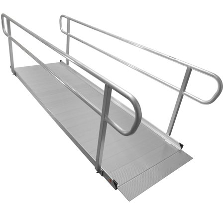 10' Aluminum Wheelchair Entry Ramp & Handrails Surface Scooter Mobility Access (Wheelchair Ramp 10)