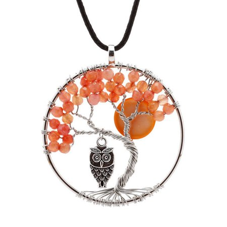 AkoaDa New Fashion Women Ladies Natural Crystal Agate Beads Life Tree  Reiki Chakra Copper Owl Pendant Yoga Necklace Jewelry