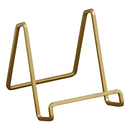 TRIPAR 50224 Square Wire Stand Plate Art Photo Holder, Gold Metal ()