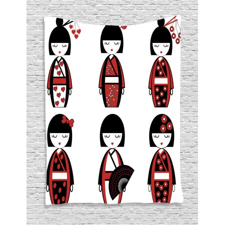 Girls Tapestry, Unique Asian Geisha Dolls in Folkloric Costumes Outfits Hair Sticks Kimono Art Image, Wall Hanging for Bedroom Living Room Dorm Decor, Black Red, by Ambesonne