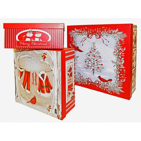 alef elegant decorative holiday themed nesting gift boxes 3 boxes nesting boxes beautifully themed and decorated perfect for gifts or simple decoration - Decorative Christmas Boxes