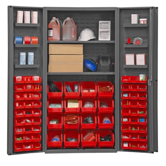 14 Gauge Lockable Cabinet with 64 Red Hook on Bins & 2 Adjustable Shelves & 6 Door Shelves, Gray - 36 x 24 x 72 in.