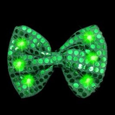 Green Bow Tie with Green LED Lights - Led Bowtie