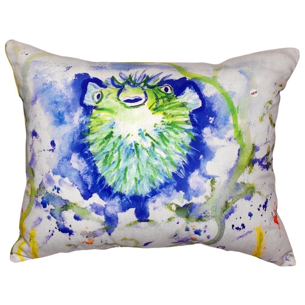 Betsy Drake Interiors Spiney Puffer Indoor Outdoor Lumbar Pillow Walmart Com Walmart Com