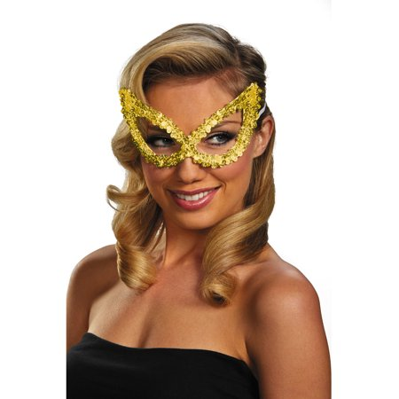 Adult Gold Masquerade Ball Costume Accessory Elegant Large Sequin Mask ()
