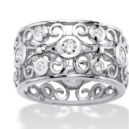1 TCW Round White Cubic Zirconia Scroll Eternity Ring in Sterling Silver