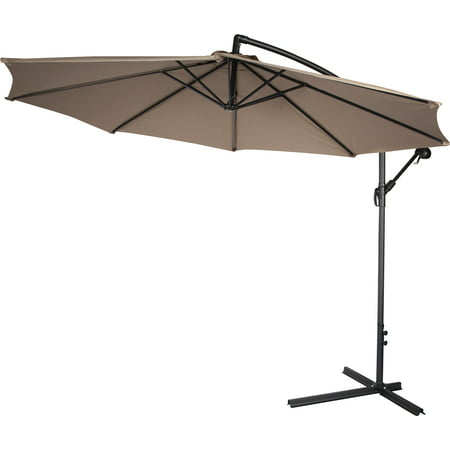 Deluxe Polyester Offset Patio Umbrella 10 By Trademark Innovations Tan