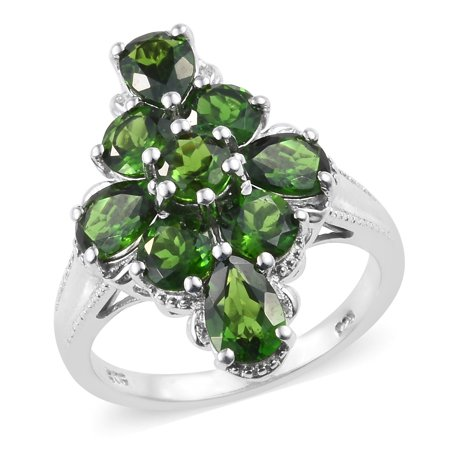 Cluster Ring 925 Sterling Silver Platinum Plated Pear Chrome Diopside Gift Jewelry for Women Cttw - 925 Silver Cluster Ring
