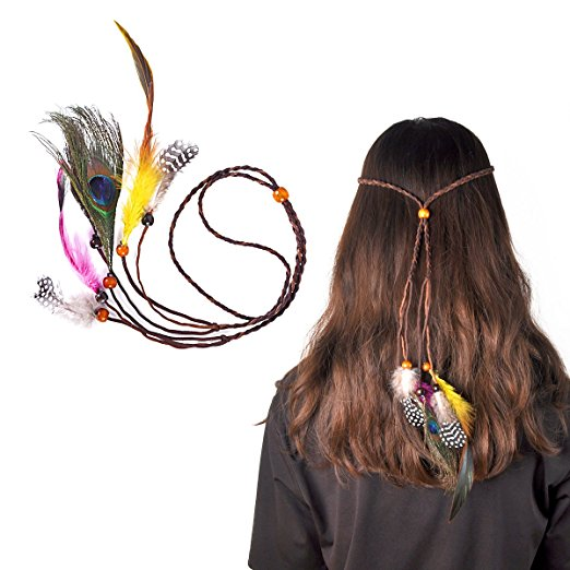 Lady Up Hair Bands Bohemian Feather Headbands Headwear for Women Girls, 2-Pack