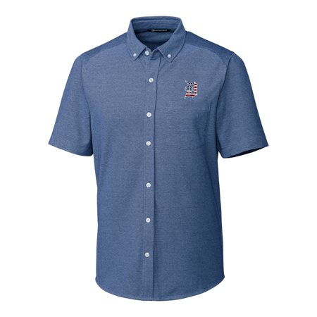 Detroit Tigers Cutter & Buck Stars & Stripes Reach Oxford Button-Down Short Sleeve Shirt - Navy