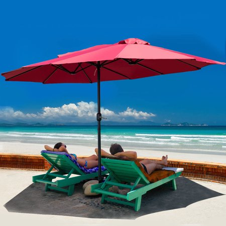 Costway 15' Market Outdoor Umbrella Double-Sided Twin Patio Umbrella with Crank Wine ()