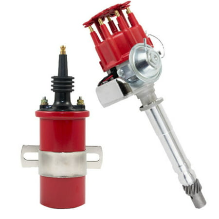 CHEVY RED Small Cap Distributor SMALL BIG BLOCK Ready-To-Run W/50K Volt Coil