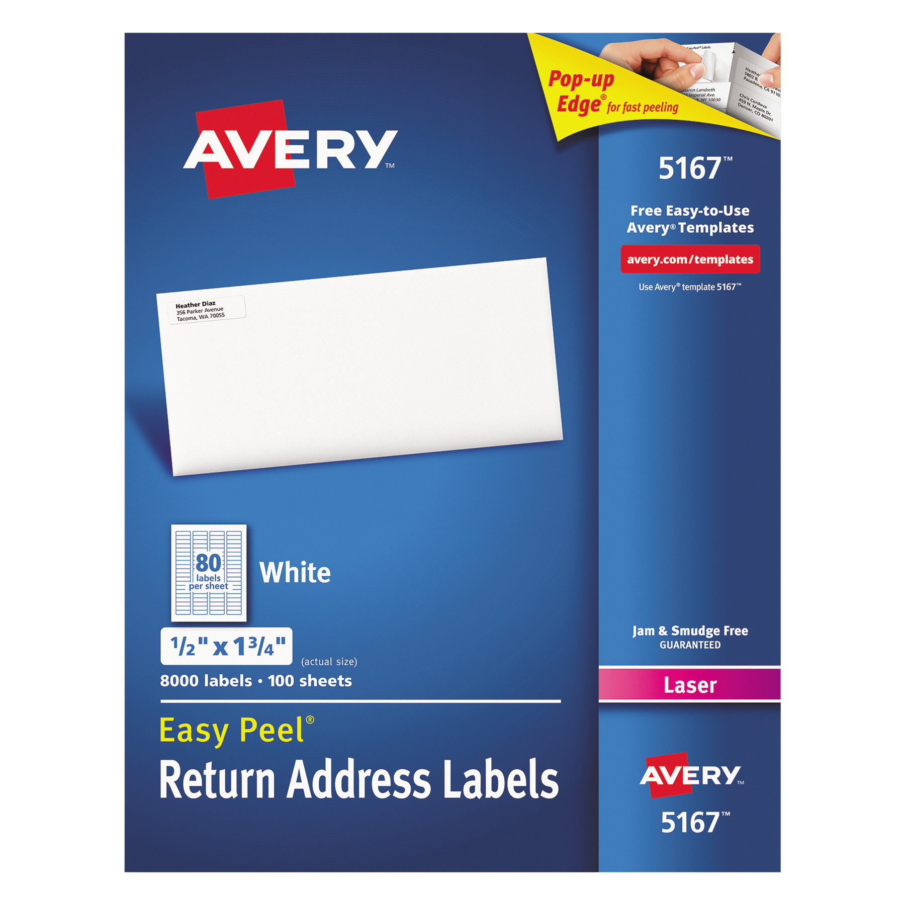 "Avery 5167 Easy Peel White Return Address Labels for Laser Printers, 1/2"" x 1-3/4"", 8000 Labels/Pack"