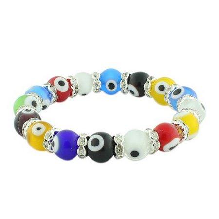 Fashion Alloy Multicolor Ball Evil Eye White CZ Beaded Stretch Bangle Bracelet