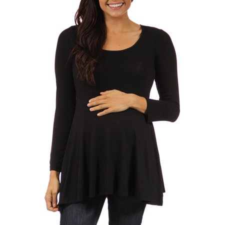 Women's Long-sleeve Scoop Neck Maternity Plus Tunic Top
