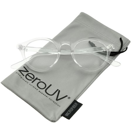 zeroUV - Retro Keyhole Nose Bridge Clear Lens P3 Round Glasses 46mm - 46mm Sophisticated and cool, these P3 round eyeglasses feature a subtle horn rimmed design and a classic keyhole nose bridge for that retro-inspired look. Complete with round clear lenses for everyday wear, these versatile glasses are the perfect accessory to complement any look. Made with a plastic based frame, metal hinges and polycarbonate UV400 clear lenses.
