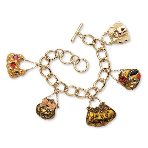 "PalmBeach Crystal ""Handbag Heaven"" Charm Bracelet in Enamel and Yellow Gold Tone Bold Fashion"