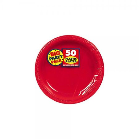 Amscan Big Party Pack 50 Count Plastic Dessert Plates, 7-Inch, Apple Red for $<!---->