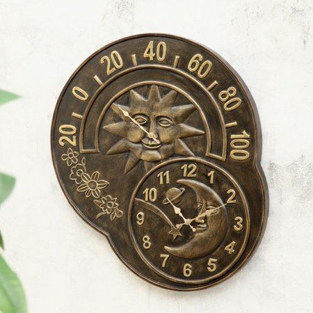 San Pacific International Sun and Moon Clock and Thermometer ()