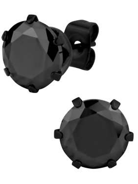 Product Image Large Stainless Steel Black Ip Plated Round 5 Ct Cz Simulated Diamond Stud Earrings For
