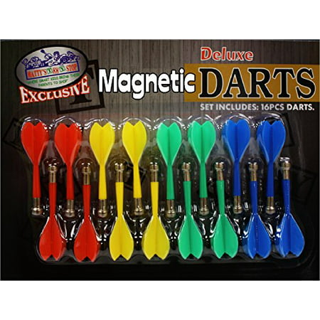 Plastic Broadhead Darts - Deluxe 16 Piece Magnetic Replacement Darts with Plastic Wings in Red, Blue, Green & Yellow -