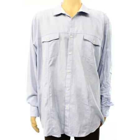 Inc New Light Blue Mens Size 2xl Roll Tab Sleeve Button