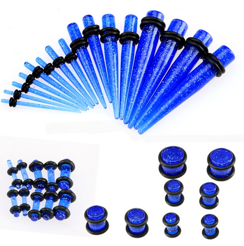 34pcs Ear Stretching kits,Ear Gauges Plugs And Tapers In Jewelry