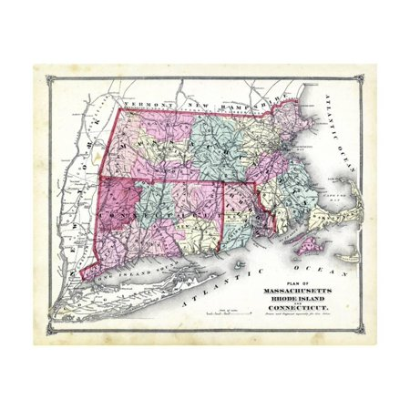 1874 State Map Connecticut Massachusetts Rhode Island - Us-map-connecticut