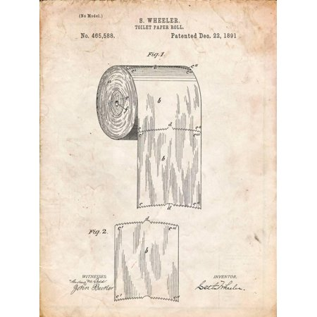 Toilet Paper Patent Industrial Style Humor Bathroom Art Print Wall Art By Cole Borders
