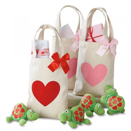 Canvas Mini Valentine Treat Bags - Set of 6 (2 of each color) 5-1/2