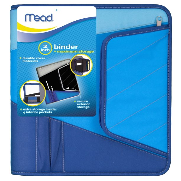 Mead 2 Inch Zipper Binder, Blue/Black, 1 Count