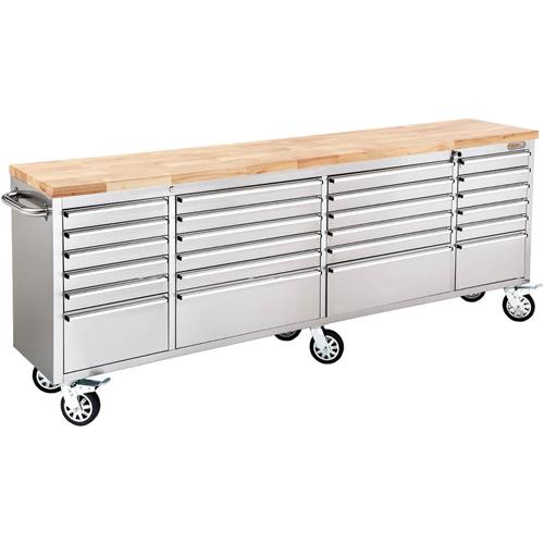 """Grizzly T27877 96"""" 24 Drawer Stainless Steel Industrial Cabinet with Wood Top"""