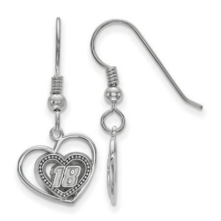 - Roy Rose Jewelry Sterling Silver LogoArt NASCAR Beaded Heart in Heart with #18 Dangle Earrings