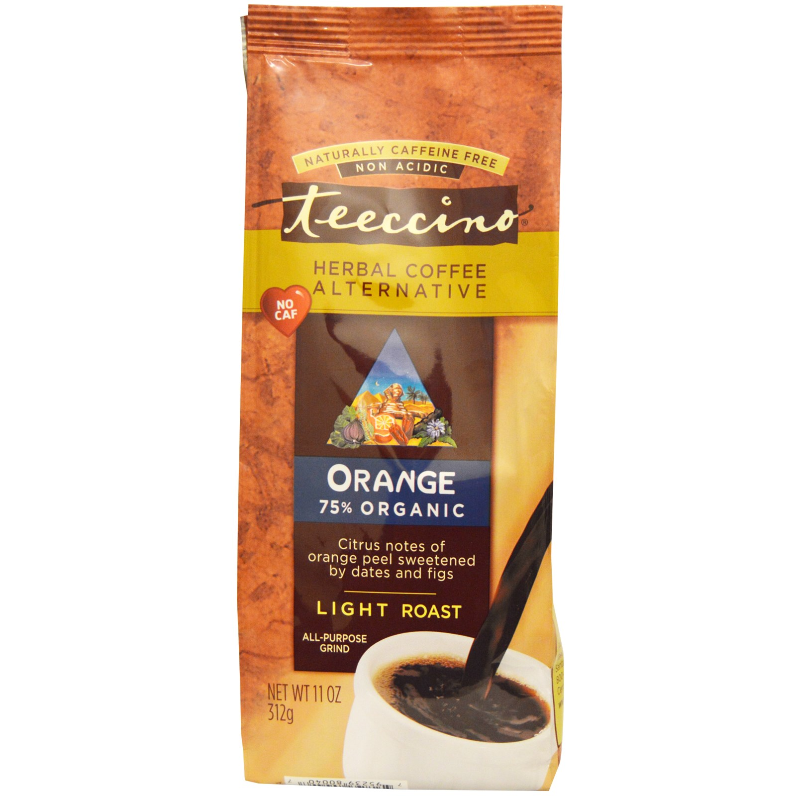 Teeccino, Herbal Coffee Alternative, Orange, Light Roast, Caffeine Free, 11 oz (pack of 4)
